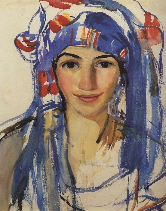 famous painting Self-portrait wearing a scarf  of Zinaida Serebriakova