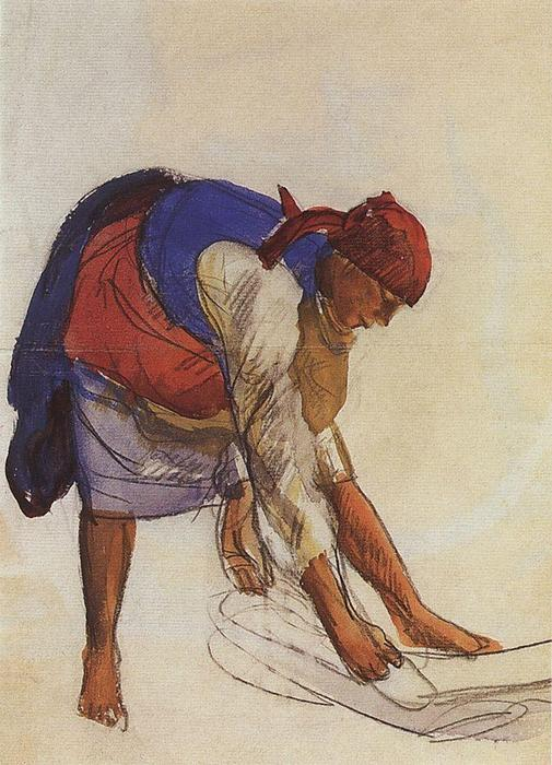 famous painting Farmer, spread out on canvas  of Zinaida Serebriakova