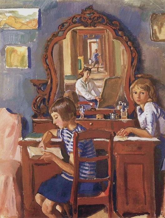 famous painting Tata and Katia in the mirror of Zinaida Serebriakova
