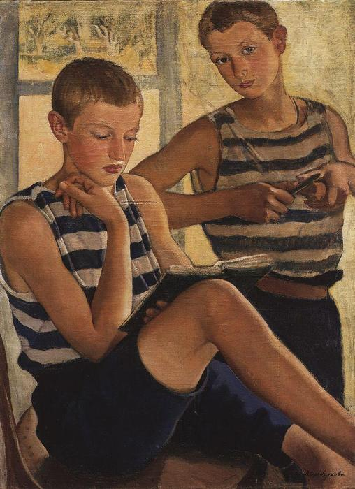 famous painting Boys in sailor's striped vests  of Zinaida Serebriakova