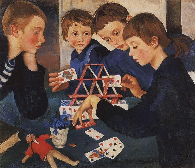 famous painting House of cards  of Zinaida Serebriakova