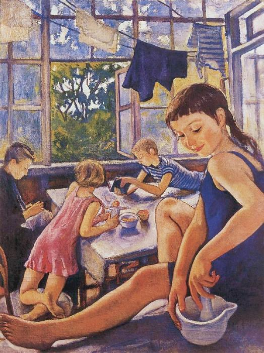famous painting On the terrace in Kharkov of Zinaida Serebriakova