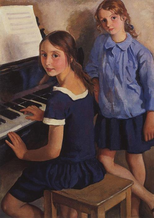 famous painting Girls at the piano  of Zinaida Serebriakova