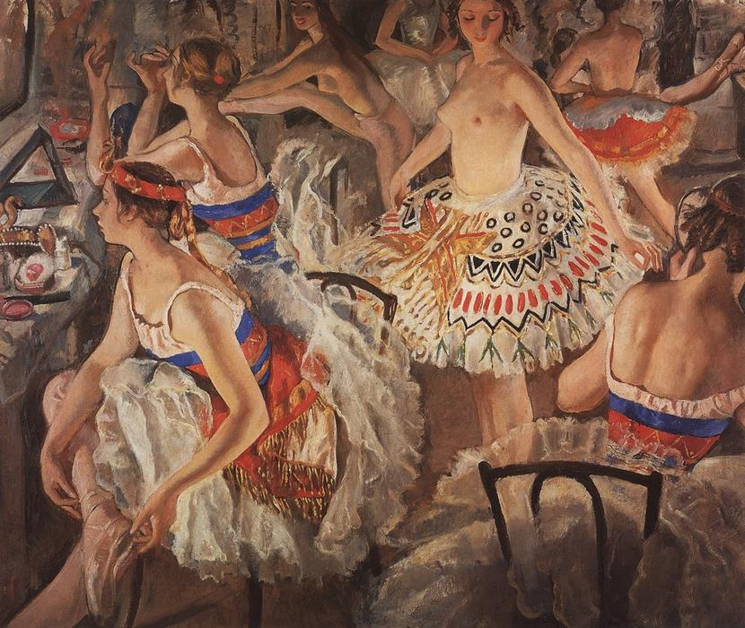 famous painting In ballet dressing room (Big ballerinas) of Zinaida Serebriakova