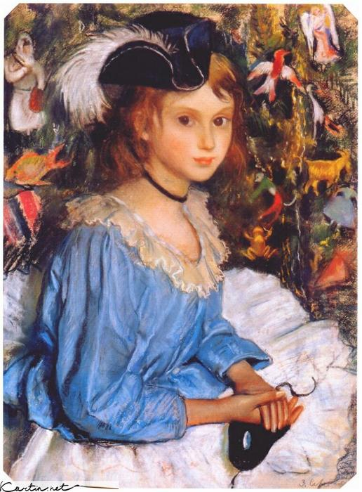 famous painting Katya in blue dress by christmas tree of Zinaida Serebriakova