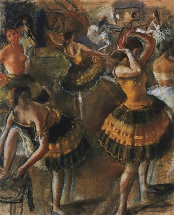 famous painting Ballet dancers in their dressing room of Zinaida Serebriakova