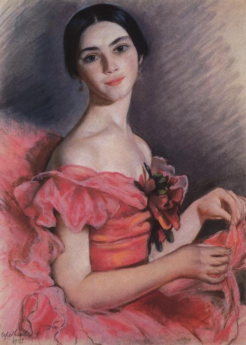 famous painting Portrait of Yekaterina Heidenreich in Red of Zinaida Serebriakova