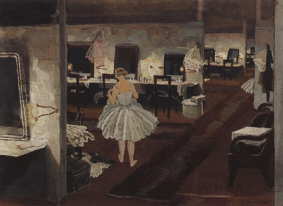 famous painting In ballet dressing room  of Zinaida Serebriakova