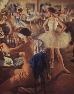 Zinaida Serebriakova - In the dressing room ballet (Swan Lake)