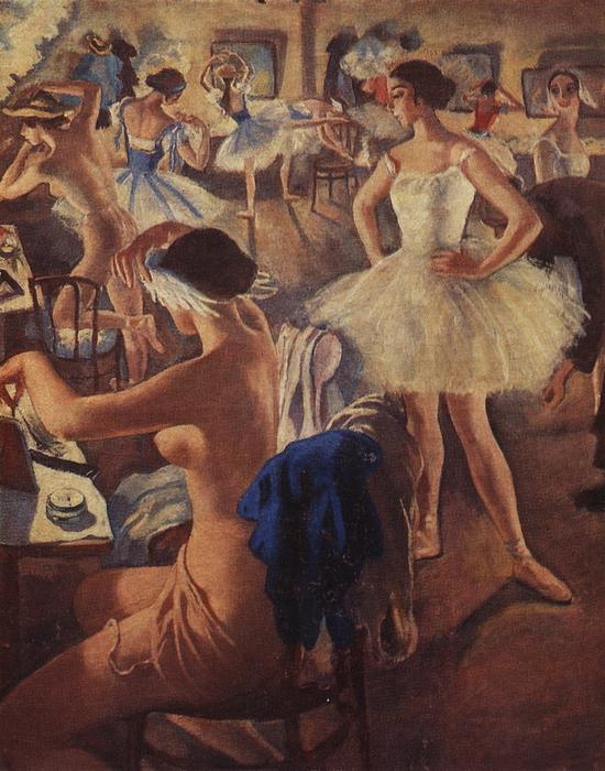 famous painting In the dressing room ballet (Swan Lake) of Zinaida Serebriakova