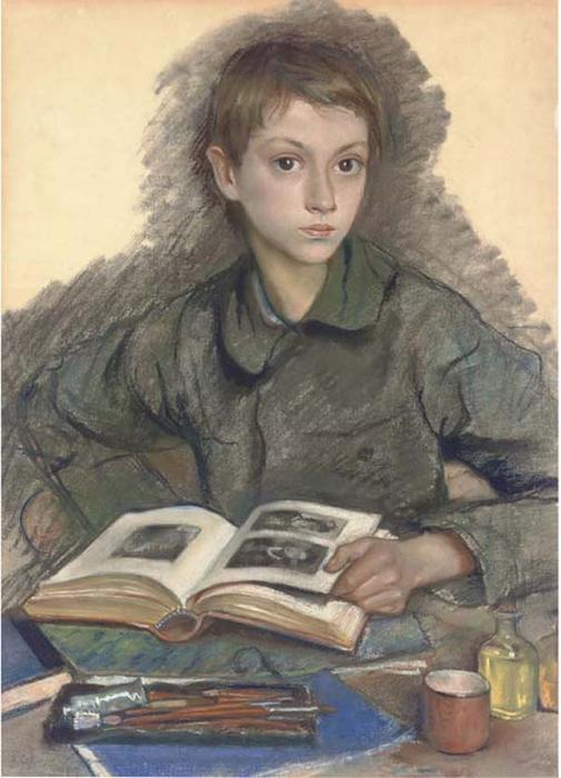 famous painting Portrait of Aleksandr Serebriakov studying an album of Zinaida Serebriakova