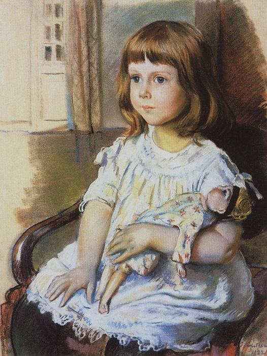 famous painting Girl with a Doll  of Zinaida Serebriakova