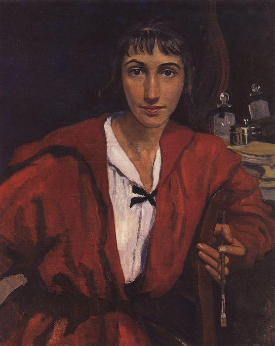 famous painting Self-portrait in red  of Zinaida Serebriakova