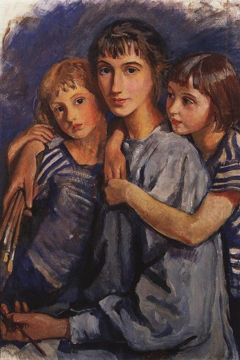 famous painting Self-portrait with daughters  of Zinaida Serebriakova