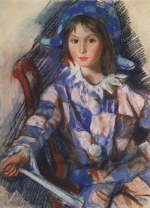 Zinaida Serebriakova - Tata portrait in the costume of Harlequin