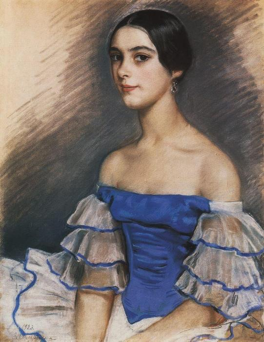 famous painting Portrait of N. Geydenreyh in Blue  of Zinaida Serebriakova