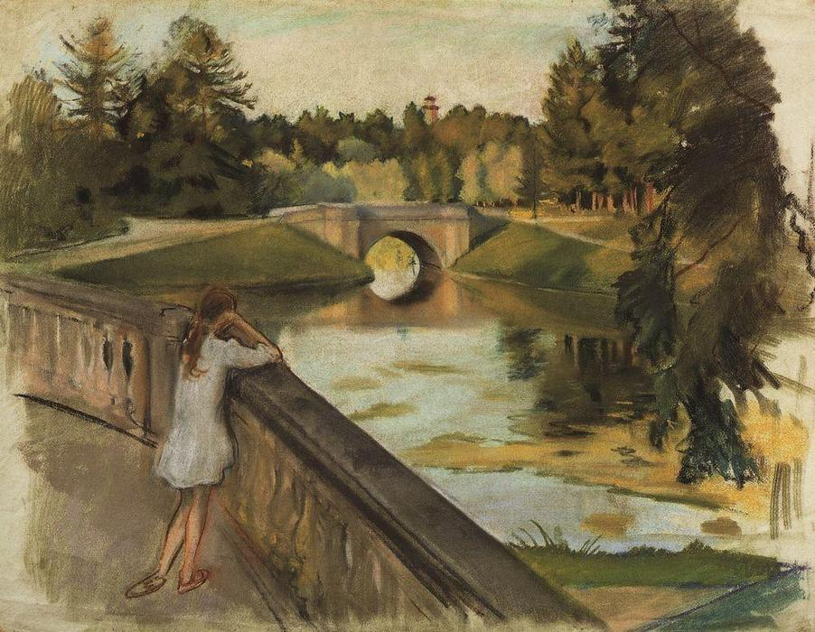 famous painting The Bridge at Gatchina (Karpin pond)  of Zinaida Serebriakova
