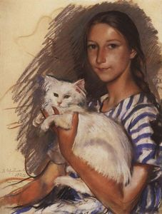 Zinaida Serebriakova - Portrait of Natasha Lancere with a cat