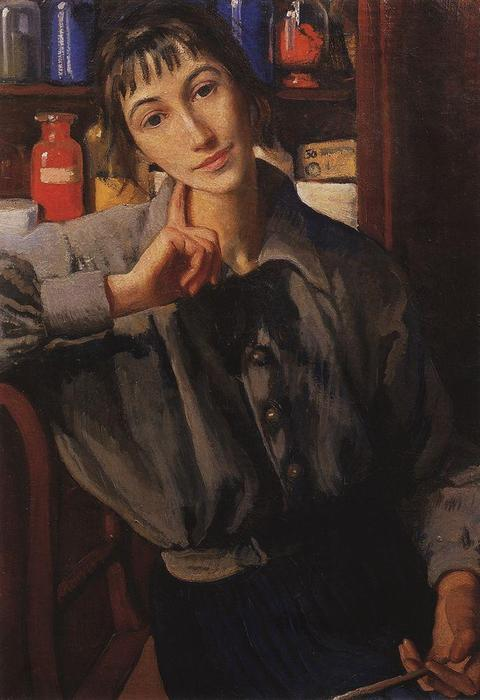 famous painting Self-portrait with a brush  of Zinaida Serebriakova