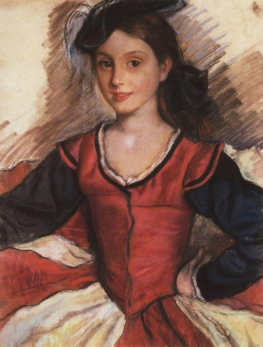 famous painting Tata in dance costume  of Zinaida Serebriakova