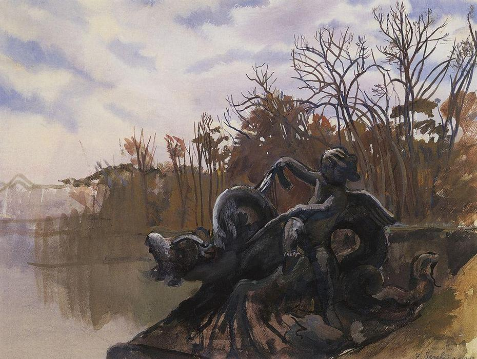 famous painting Fountain in the Versailles park  of Zinaida Serebriakova