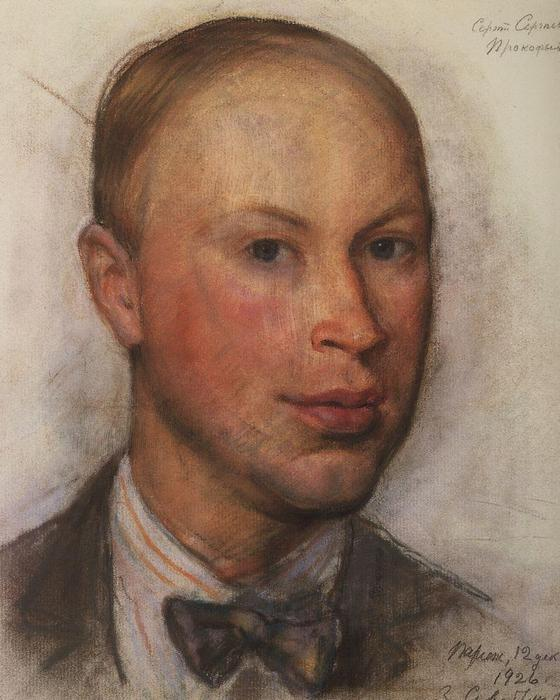 famous painting Portrait of the composer Sergei Prokofiev  of Zinaida Serebriakova