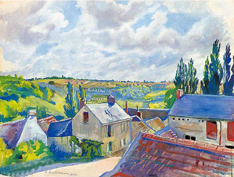 famous painting View over the rooftops. France  of Zinaida Serebriakova