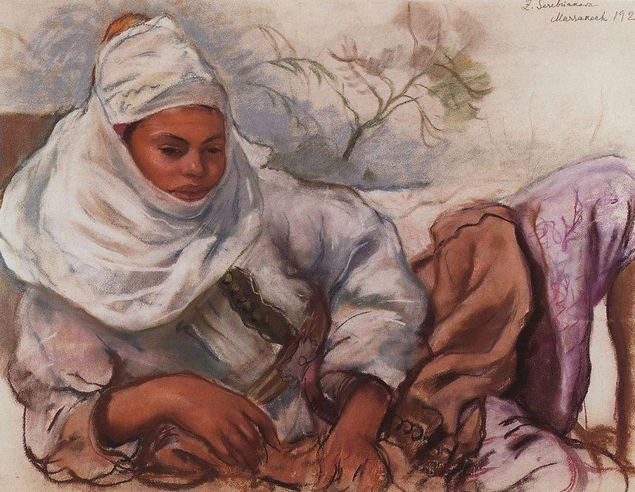 famous painting A young woman in a white headdress  of Zinaida Serebriakova