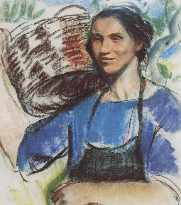 famous painting Cassis. A peasant woman with basket  of Zinaida Serebriakova