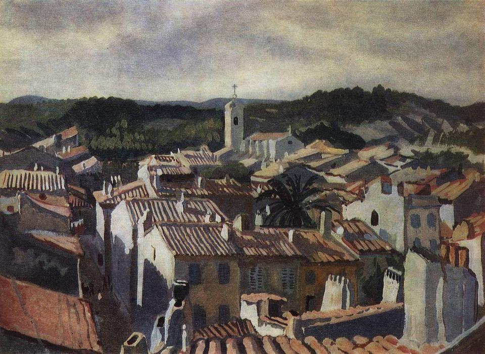 famous painting Cassis. The roofs of the city  of Zinaida Serebriakova