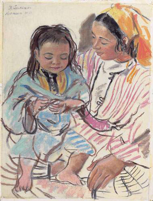 famous painting Mother and daughter  of Zinaida Serebriakova