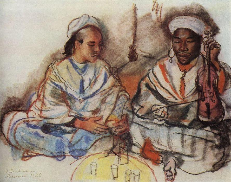 famous painting Musicians (Arab and Negro)  of Zinaida Serebriakova