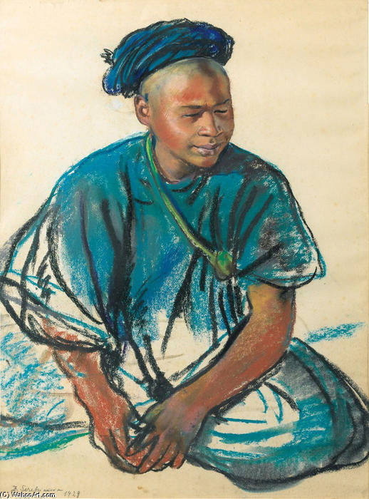 famous painting Portrait of a young Moroccan  of Zinaida Serebriakova