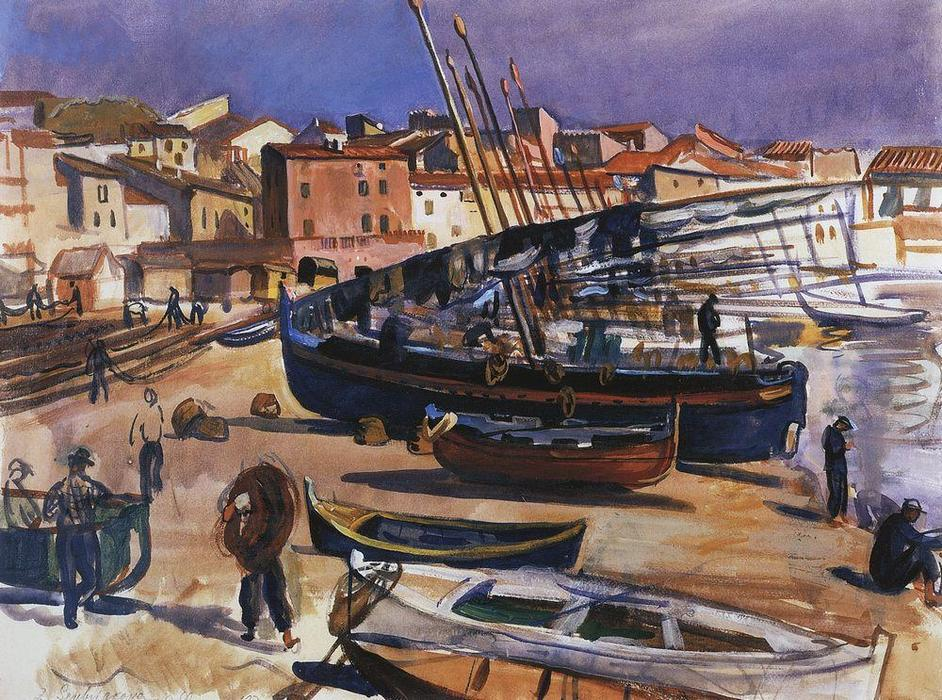 famous painting Collioure. Port with boats  of Zinaida Serebriakova