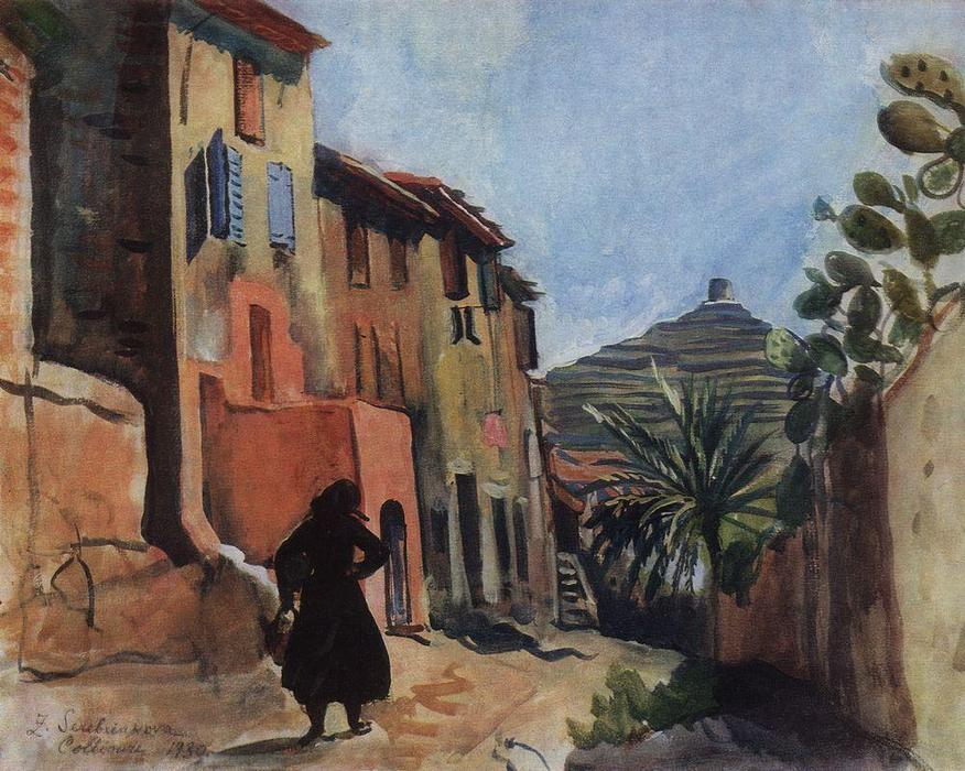 famous painting Collioure. Street with the palm  of Zinaida Serebriakova