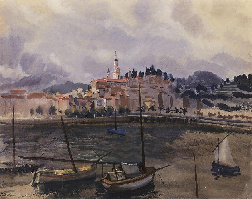 famous painting Menton. View from the harbor of the city  of Zinaida Serebriakova