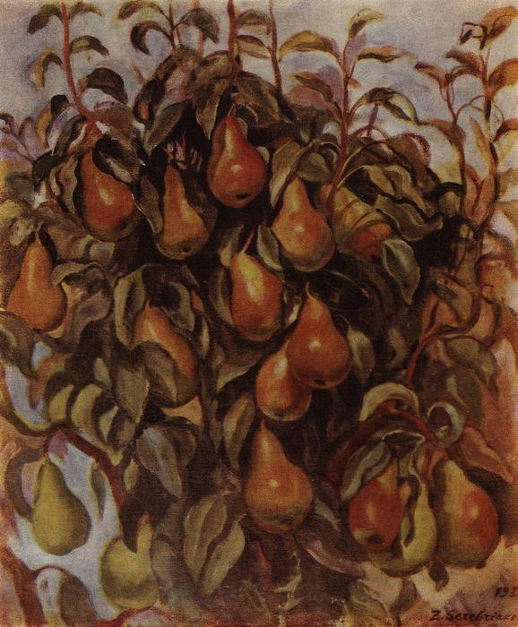 famous painting Pears on the branches  of Zinaida Serebriakova