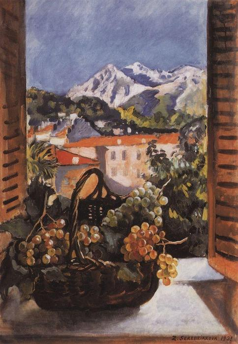 famous painting Basket with grapes on the window  of Zinaida Serebriakova