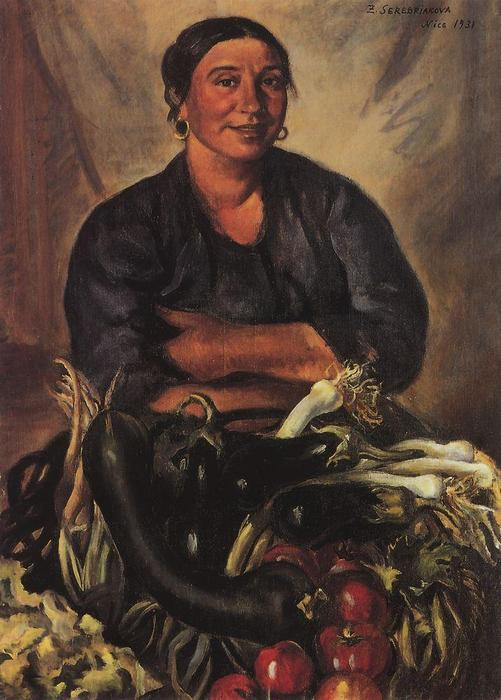 famous painting Merchant vegetables. Nice  of Zinaida Serebriakova