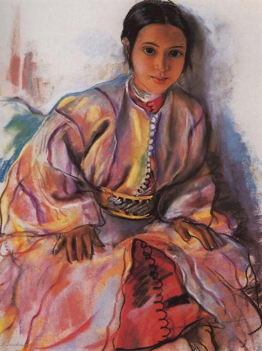 famous painting Girl in Pink  of Zinaida Serebriakova