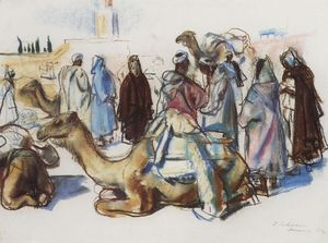Zinaida Serebriakova - Market with their camels. Marrakesh