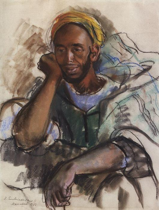 famous painting Moroccan in Green  of Zinaida Serebriakova