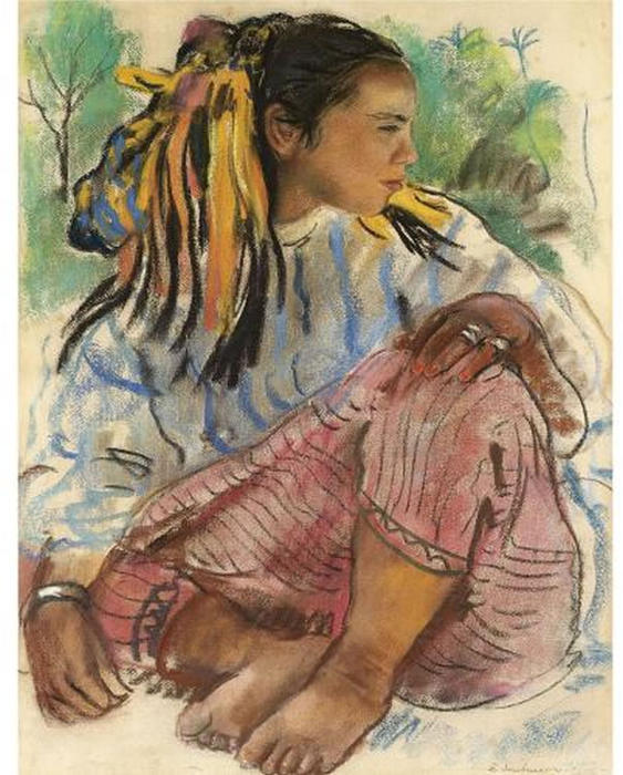 famous painting Portrait of a young girl. Marrakesh  of Zinaida Serebriakova