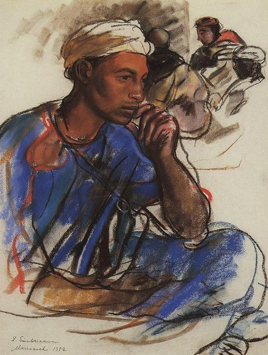 famous painting Thoughtful men in blue. Marrakesh  of Zinaida Serebriakova