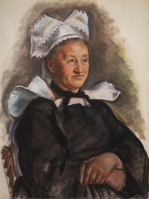 famous painting The old lady in a bonnet. Brittany  of Zinaida Serebriakova