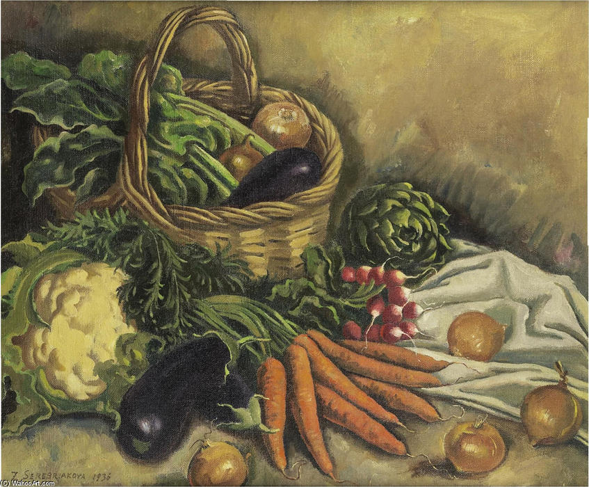 famous painting Still life with cauliflower and vegetables  of Zinaida Serebriakova