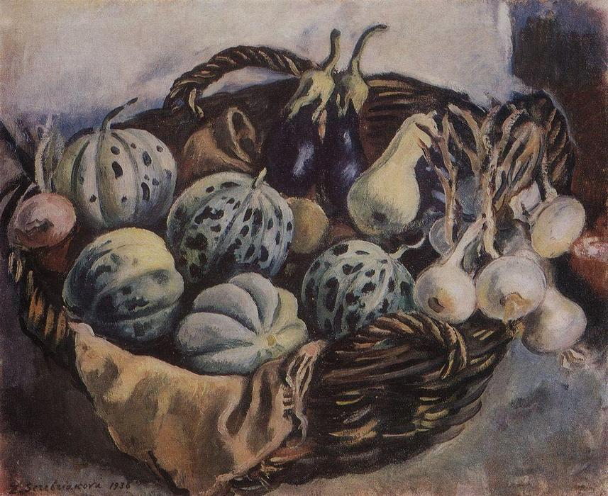 famous painting Basket with melons and squash  of Zinaida Serebriakova