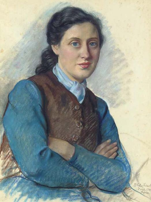 famous painting Portrait of Mrs Beilitz of Zinaida Serebriakova
