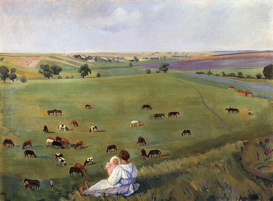 famous painting In the meadow  of Zinaida Serebriakova