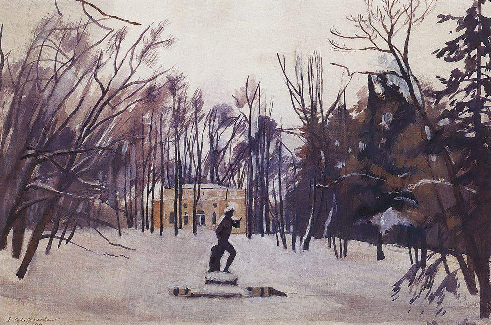 famous painting Winter in the royal village. Upper Bath  of Zinaida Serebriakova